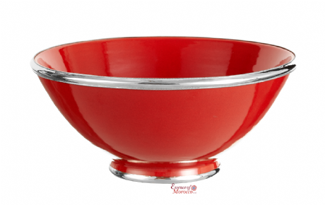Moroccan Ceramic Bowl Red with Silver Edge Large Handmade 30 cm / 11.8""